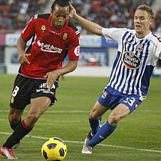 Nsue durante el partido contra el Deportivo.