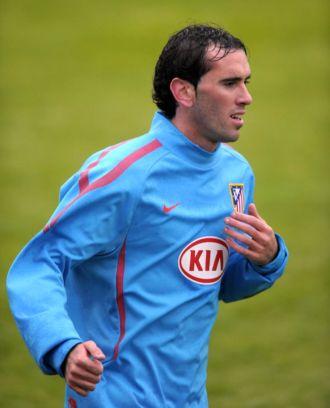 God�n, en un entrenamientos con el Atl�tico de Madrid