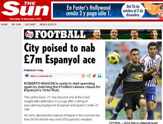 Informaci�n del diario The Sun sobre V�ctor Ruiz y el City