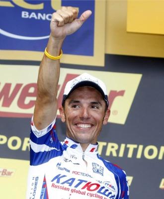 Purito Rodr�guez, en el podio del Tour de Francia.