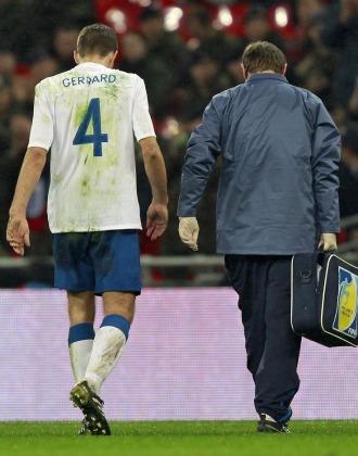 Gerrard se lesion� durante el amistoso entre Inglaterra y Francia.