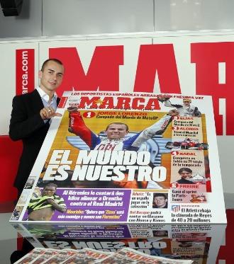Jorge Lorenzo, en una visita a la redacci�n de MARCA