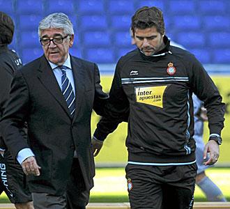 Pochettino, con Daniel S�nchez Llibre, presidente del Espanyol