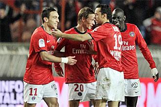 Los jugadores del PSG celebran uno de los goles ante el Caen
