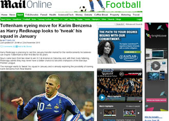 Informaci�n del 'Daily Mail' sobre Benzema y el Tottenham