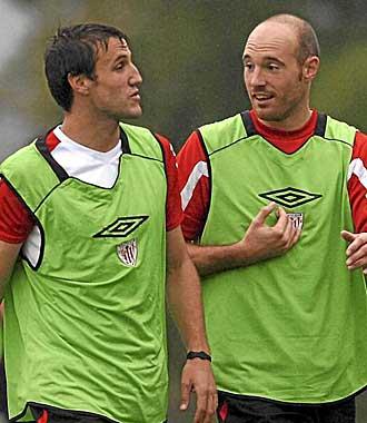 Toquero y Gurpegui durante un entrenamiento.