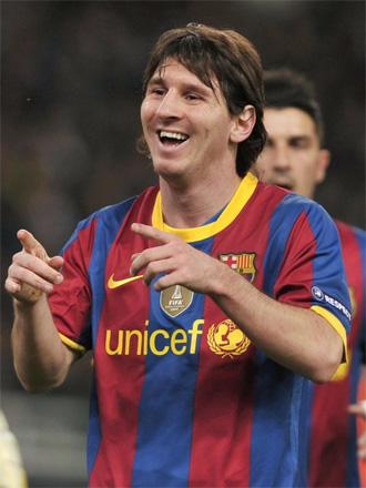 Messi celebra su tanto ante el Panathinaikos.