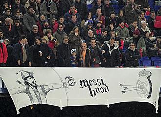 Messi fue el m�s aclamado desde la grada.