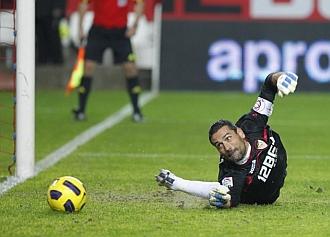 Palop, durante el partido contra el Getafe.