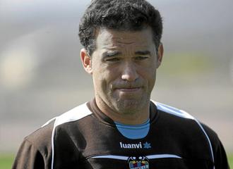 Luis Garc�a, durante un entrenamiento
