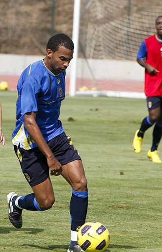 Randy, durante un entrenamiento de Las Palmas.