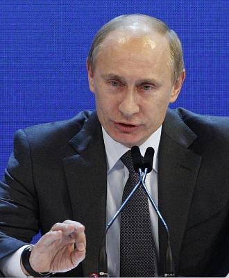 Vladimir Putin, primero ministro ruso, durante la rueda de prensa