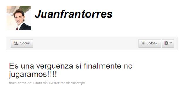 Twitter del jugador de Osasuna, Juanfran.