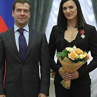 Medvedev y Yelena Isinbayeva tras los Juegos Ol�mpicos de 2008.