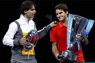 Nadal y Federer en Londres donde el suizo gan� al espa�ol en la final de la Copa Masters.