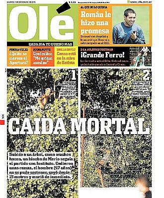 Portada del diario Ol� donde se refleja la ca�da mortal del aficionado argentino