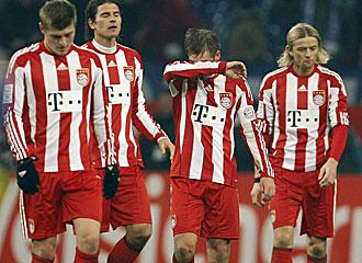 Los jugadores del Bayern se lamentan.