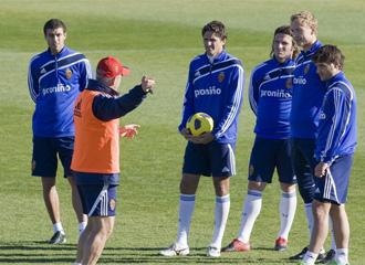 Aguirre, en un entrenamiento del Zaragoza