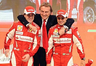 Montezemolo abraza a Alonso y Massa.