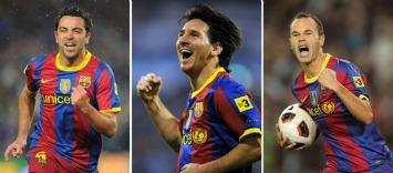 Xavi, Messi e Iniesta