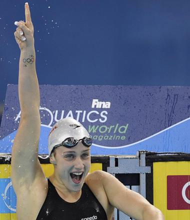 Mireia Belmonte tras ganar el oro en los 200 mariposa.