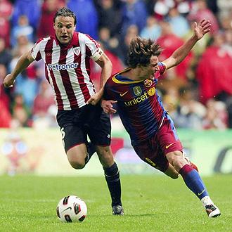 Gurpegui y Bojan, en el �ltimo Athletic-Bar�a de Liga.