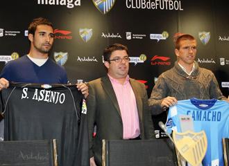 Asenjo y Camacho durante la presentación con el Málaga.