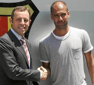 Rosell y Guardiola se saludan
