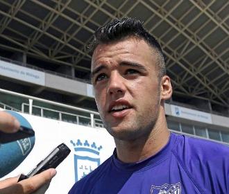 Edu Ramos, en un entrenamiento del Málaga.