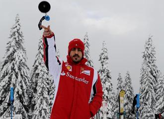 Alonso, durante la concentraci�n de Ferrari.