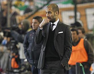 Pep Guardiola, en el partido de Copa contra el Betis