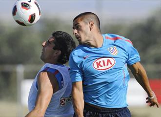 Juanito, durante un entrenamiento con el Málaga