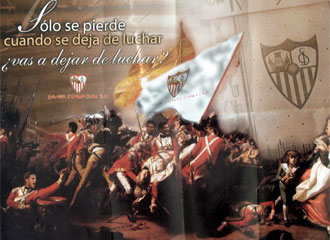 En la vuelta de la semifinal de la Copa de la UEFA frente a Osasuna, el Sevilla utilizaba un cuadro -La batalla de Jersey- del pintor estadounidense Joseph Blackburn para pedir, una vez m�s, el apoyo de sus fieles.
