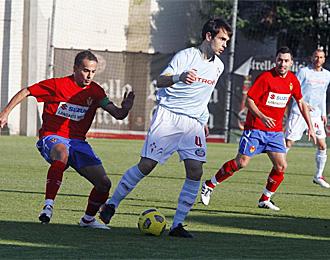 Borja Oubiña, en el partido amistoso contra el Ourense