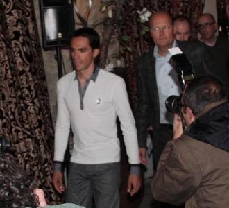 Alberto Contador en la rueda de prensa de Mallorca.