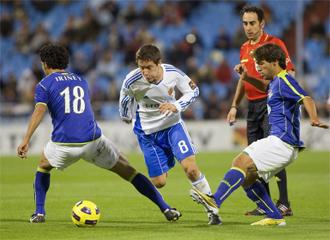 Ander, en un partido de Copa con el Zaragoza