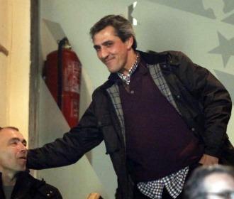 Pepe Murcia, con Pantic en el Vicente Calderón.