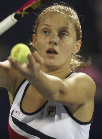 Anna Chakvetadze durante un partido en Dubai.