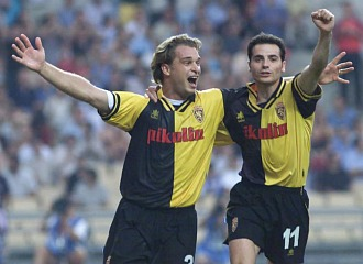 Jamelli celebra el gol logrado en la final de Copa ante el Celta.