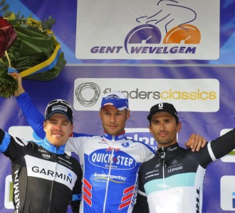 De izquierda a derecha: Farrar, Boonen y Bennati.
