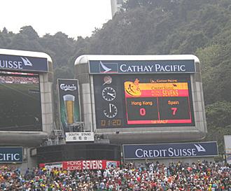 El marcador muestra el momento en que España se había adelantado en su partido ante Hong Kong, el primero que ganó en el Seven más prestigioso del Circuito Mundial