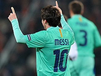 Messi celebra el gol logrado en Donetsk
