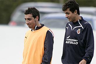 Cazorla y Nilmar, durante un entrenamiento del Villarreal