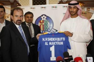 Ángel Torres, presidente del Getafe, junto al presidente del Royal Emirates Group Sheikh Butti Bin Suhail Al Maktoum