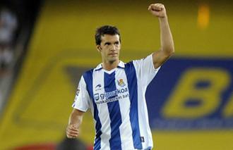 Xabi Prieto, celebrando la victoria contra el Barça