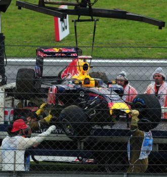 as� qued� el coche de Vettel despu�s del accidente