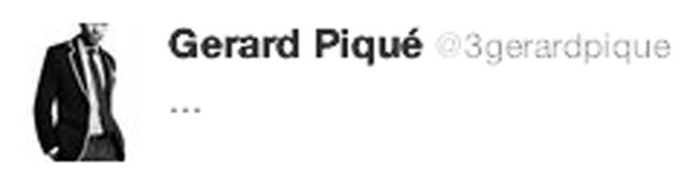 Mensaje de Gerard Piqu� en Twitter segundos despu�s de la posible mano de Ramos.