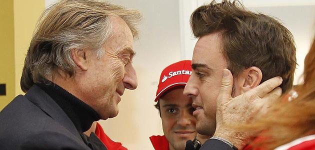 Montezemolo saluda a Alonso con Massa al fondo / RV RACING PRESS