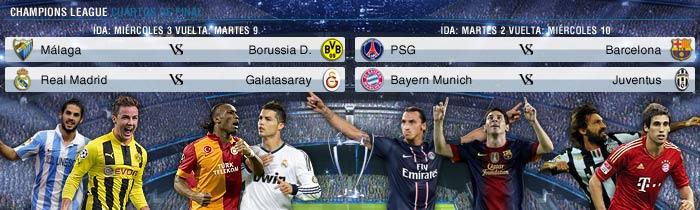M�laga-Borussia, Madrid-Galatasaray y PSG-Barcelona, los cuartos de Champions