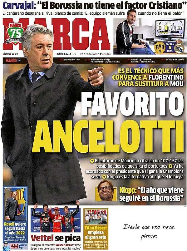 Apuestas ancelotti favorito para convertirse en el for El marca del madrid